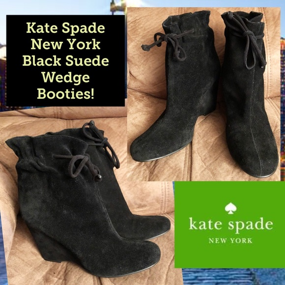 a812f79856fe kate spade Shoes - Kate Spade New York Black Suede Wedge Booties!